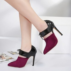 Women's Suede PU Stiletto Heel Pumps Closed Toe With Lace-up shoes