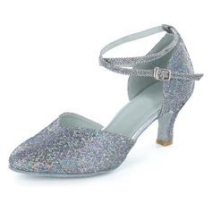 Women's Sparkling Glitter Heels Pumps Modern With Buckle Dance Shoes