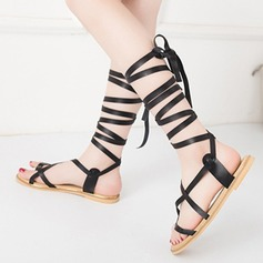 Women's Real Leather Flat Heel Sandals Peep Toe With Braided Strap shoes