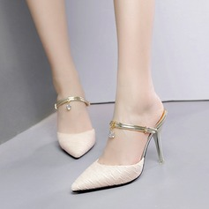 Women's Leatherette Lace Stiletto Heel Sandals Pumps Closed Toe Slippers With Rhinestone shoes