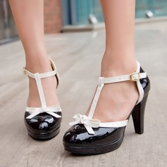 Women's Leatherette Chunky Heel Sandals Pumps Platform Closed Toe With Bowknot Buckle shoes
