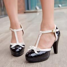 Frauen Kunstleder Stämmiger Absatz Sandalen Absatzschuhe Plateauschuh Geschlossene Zehe mit Bowknot Schnalle Schuhe