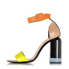Dla kobiet Prawdziwa Skóra Obcas Slupek Sandały Czólenka Otwarty Nosek Buta Z Klamra Łączona obuwie