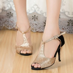 Women's Sparkling Glitter Sandals Latin With Ankle Strap Dance Shoes