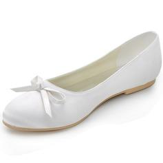 Women's Silk Like Satin Flat Heel Closed Toe Flats With Bowknot