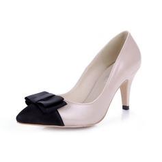 Koženka Špulkový podpatek Lodičky Closed Toe S Bowknot obuv