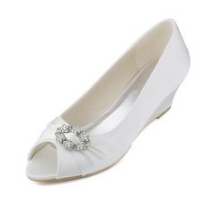 Women's Satin Wedge Heel Peep Toe Wedges With Crystal