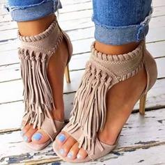 Femmes Suède Talon stiletto Sandales avec Zip Tassel chaussures