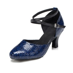 Women's Real Leather Pumps Modern With Ankle Strap Dance Shoes
