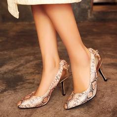 Vrouwen Kunstleer Stiletto Heel Pumps Closed Toe met Dier Afdrukken Gesplitste Stof schoenen