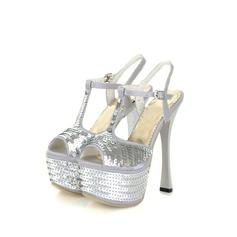 Satäng Spool Heel Sandaler Plattform med Paljetter skor
