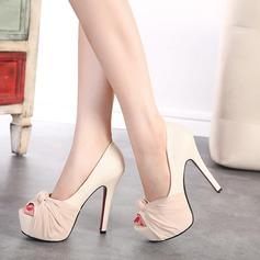 Femmes Similicuir Talon stiletto Escarpins Plateforme À bout ouvert avec Bowknot chaussures