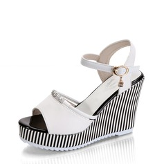 Women's Leatherette Wedge Heel Sandals Wedges Peep Toe Slingbacks With Beading Chain shoes