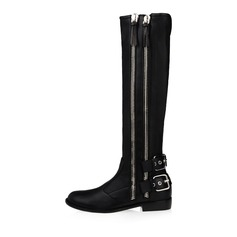 Real Leather Low Heel Pumps Closed Toe Knee High Boots With Buckle Zipper shoes