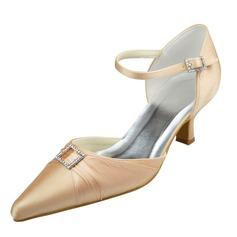 Women's Satin Spool Heel Closed Toe Pumps With Buckle Rhinestone