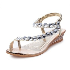 Women's Leatherette Low Heel Sandals Wedges Peep Toe With Rhinestone shoes