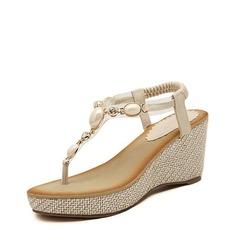 Femmes Similicuir Talon compensé Sandales Plateforme Compensée À bout ouvert avec Strass Perle d'imitation Élastique chaussures