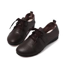 Gerçek Deri Düz Topuk Daireler Kapalı Toe Ile Bağcıklı ayakkabı