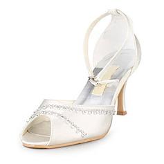 Frauen Satiniert Stöckel Absatz Peep Toe Sandalen mit Straß