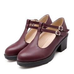 Women's Leatherette Chunky Heel Closed Toe With Buckle Hollow-out shoes