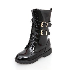 Leatherette Low Heel Mid-Calf Boots With Buckle shoes