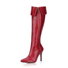 Donna Similpelle Tacco a spillo Stiletto Punta chiusa Stivali Stivali al ginocchio con Cerniera scarpe