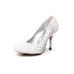 Women's Satin Cone Heel Closed Toe Pumps With Rhinestone Crystal Heel