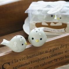 Nid d'oiseau Céramique Salière et poivrier avec Rubans (Jeu de 2 pièces)