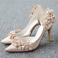 Women's Satin Stiletto Heel Pumps With Flower