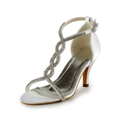 Women's Leatherette Stiletto Heel Sandals With Buckle Rhinestone