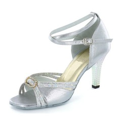 Women's Satin Sparkling Glitter Heels Sandals Latin Wedding Party With Rhinestone Ankle Strap Dance Shoes