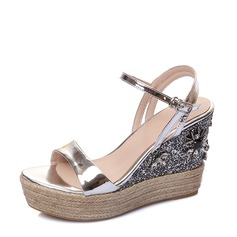 Femmes Vrai cuir Talon compensé Sandales Compensée Beach Wedding Shoes avec Boucle