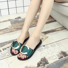 Femmes Satiné Talon plat Sandales Chaussons avec Boucle chaussures