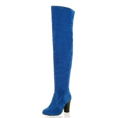 Women's Suede Chunky Heel Over The Knee Boots shoes