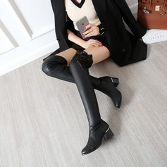 Women's Lace PU Chunky Heel Boots Over The Knee Boots With Stitching Lace shoes