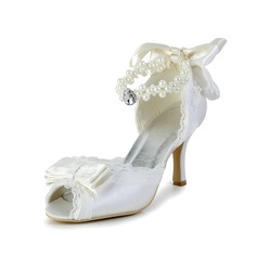 Women's Lace Satin Spool Heel Peep Toe Sandals With Bowknot Imitation Pearl Rhinestone Ribbon Tie