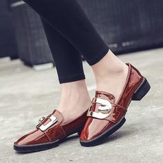 Femmes Cuir verni Talon bas Chaussures plates avec Pailletes scintillantes Boucle chaussures