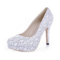 Sparkling Glitter Lace Cone Heel Pumps Platform Closed Toe shoes