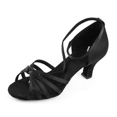 Women's Satin Heels Sandals Latin Ballroom Dance Shoes