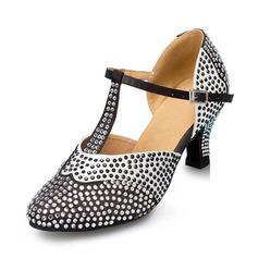 Women's Satin Heels Pumps Modern With Rhinestone Dance Shoes