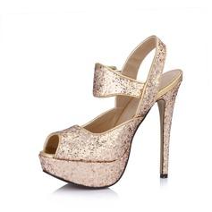 Konstläder Glittrande Glitter Stilettklack Sandaler Plattform Peep Toe Slingbacks med Spänne skor