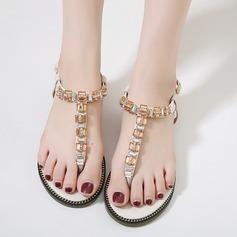 Women's Leatherette Flat Heel Flats Sandals Beach Wedding Shoes With Rhinestone