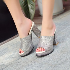 Women's Sparkling Glitter Chunky Heel Sandals Pumps Platform Slippers With Sparkling Glitter shoes