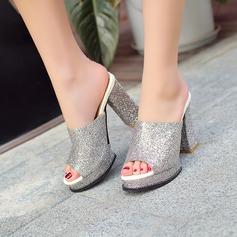 Frauen Funkelnde Glitzer Stämmiger Absatz Sandalen Absatzschuhe Plateauschuh Pantoffel mit Funkelnde Glitzer Schuhe