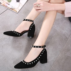 Women's Suede Chunky Heel Pumps With Imitation Pearl Buckle shoes