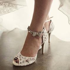 Femmes Dentelle Talon stiletto À bout ouvert Sandales Beach Wedding Shoes avec Strass