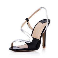 Leatherette Stiletto Heel Sandals Pumps Peep Toe Slingbacks shoes