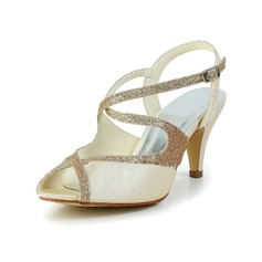 Women's Satin Cone Heel Peep Toe Sandals Slingbacks With Sparkling Glitter