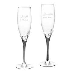 Personalized Heart Cut-out Crystal Toasting Flutes (Set of 2)