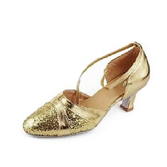 Women's Leatherette Sparkling Glitter Heels Pumps Modern With Ankle Strap Dance Shoes